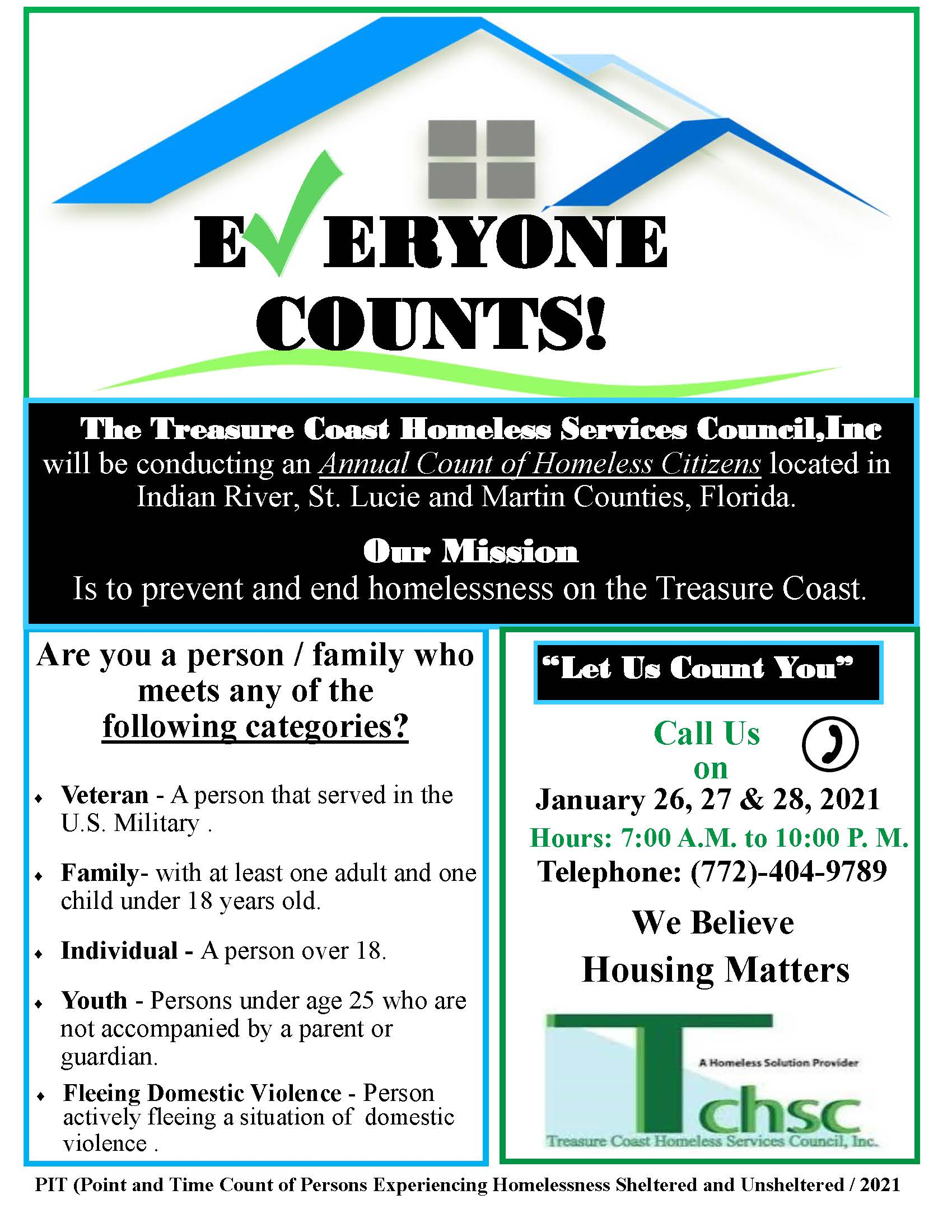 M.I.S.S. - Treasure Coast Homeless Services PIT COUNT 2021