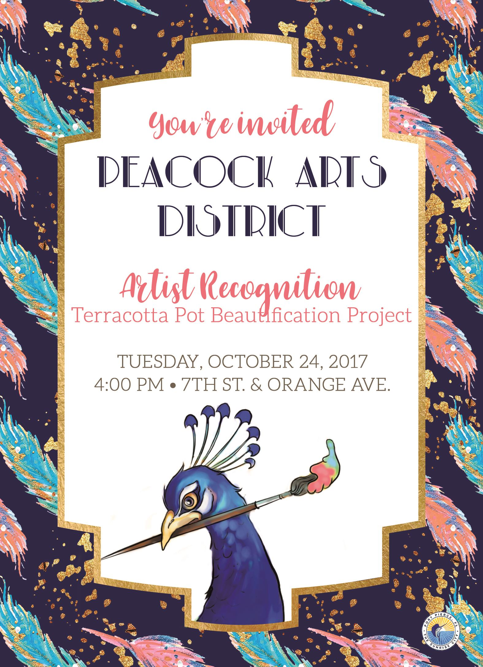 Peacock Arts District Artist Recognition Invitation