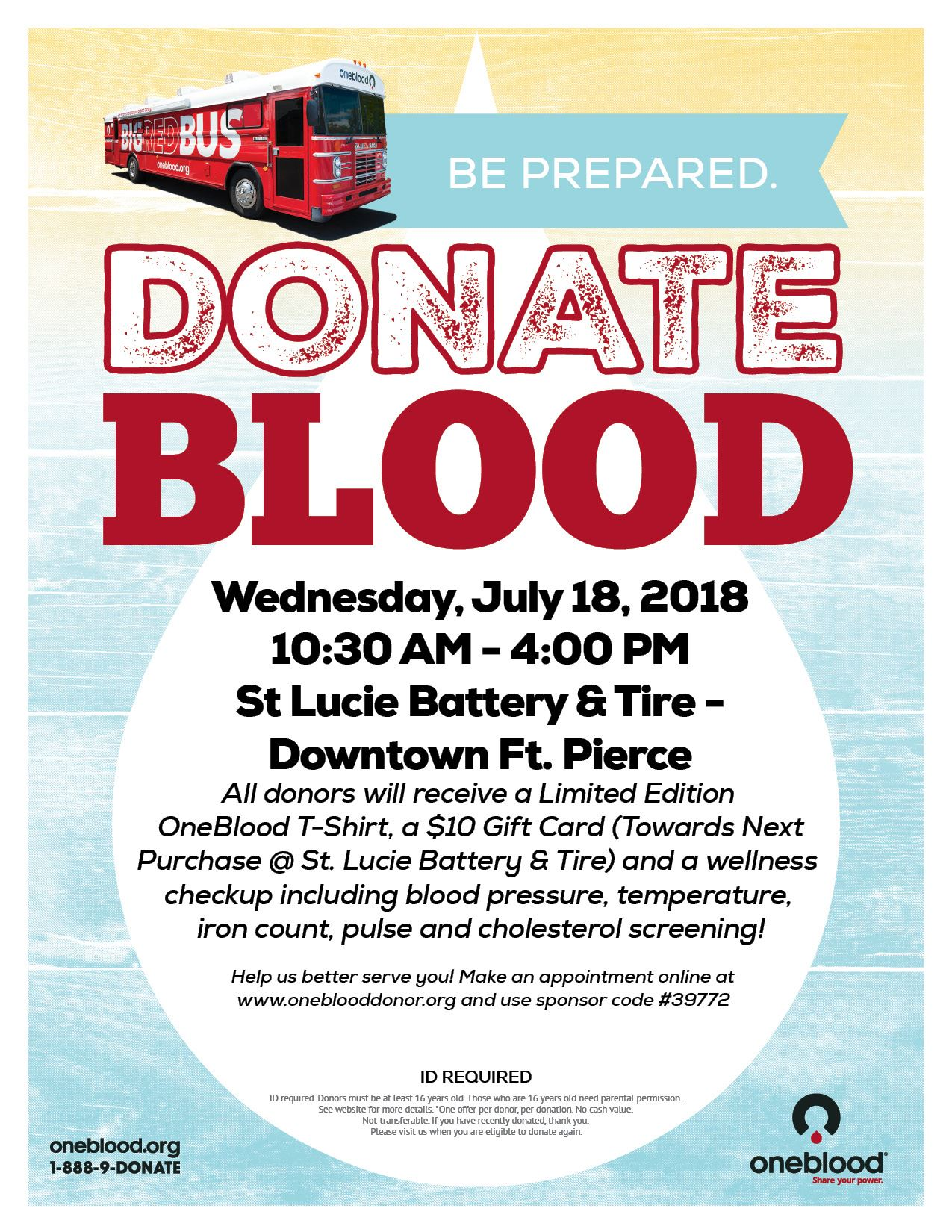 St Lucie Battery and Tire - Blood Drive 7.18.2018
