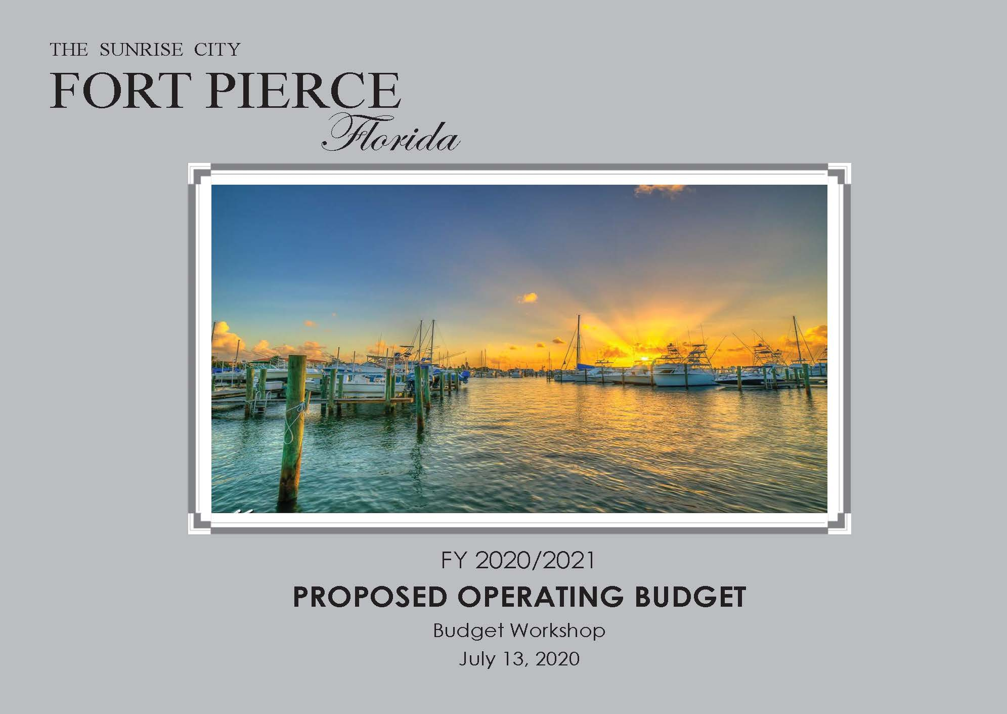 Proposed Operating Budget FY 21 cover